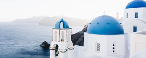 The beautiful blue rooftops in Greece