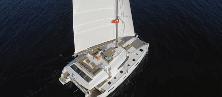 fountaine pajot ipanema 58 with sails up view from above
